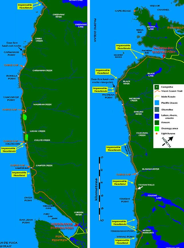 West Coast Trail Hiking Map
