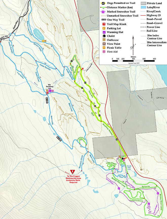 Mt MacPherson XC Ski Trails Cross Country Skiing Map